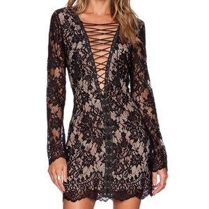 Jetset Diaries Lace up Black Dress